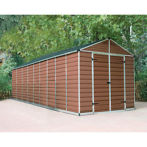 Palram 8 x 20 ft Skylight Plastic Apex Shed Amber Best Price, Cheapest Prices