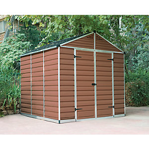 Palram 8 x 8 ft Skylight Plastic Apex Shed Amber Best Price, Cheapest Prices