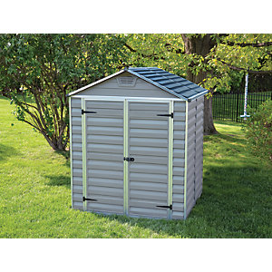 Palram Grey Double Door Plastic Apex Shed with Skylight Roof - 6 x 5 ft Best Price, Cheapest Prices