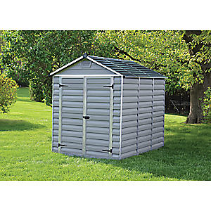 Palram Large Double Door Plastic Apex Shed with Skylight Roof - 6 x 8 ft