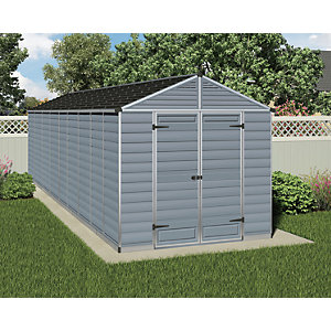 Palram Skylight Plastic Apex Shed Grey - 8 x 20 ft
