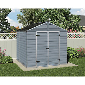 Palram Skylight Plastic Apex Shed Grey - 8 x 8 ft Best Price, Cheapest Prices
