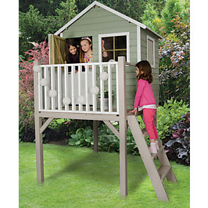 Forest Garden Sage Tower Wooden Elevated Children's Playhouse with Balcony & Stable Door - 4 x 4 ft