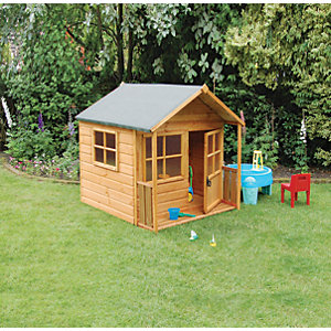 Rowlinson Playaway Lodge Children's Wooden Playhouse with Veranda - 5 x 5 ft