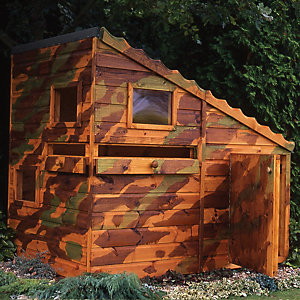 Shire 6 x 4 ft Command Post Wooden Playhouse with Water Gun Ports