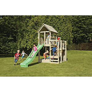 Shire 7 x 7 ft Children's Wooden Penthouse Playhouse with Bridge, Slide & Climbing Wall