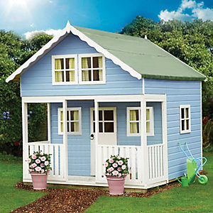 Shire 8 x 9 ft Lodge & Bunk Large Wooden Playhouse with Veranda
