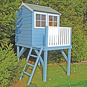 Shire Bunny & Platform Elevated Timber Playhouse with Balcony - 4 x 4 ft