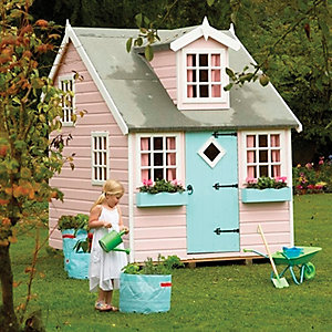 Shire Large Cottage & Bunk Wooden Children's Playhouse - 8 x 6 ft