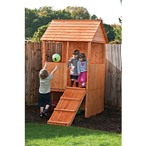 Shire Lookout Elevated Timber Playhouse with Ramp - 4 x 4 ft