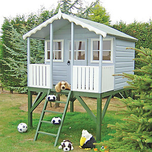 Shire Timber Elevated Wooden Children's Playhouse with Veranda - 6 x 6 ft