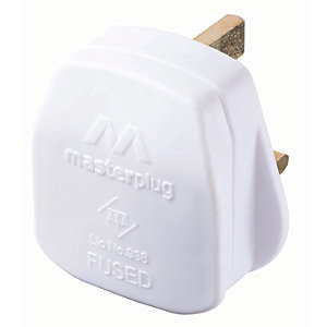 Masterplug 3A Fused Plug - White