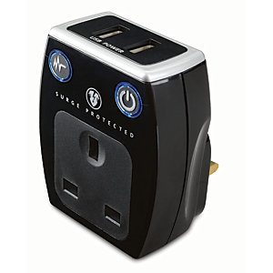 Masterplug Single Socket Plug Adaptor with Surge Protection & USB - Gloss Black