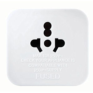 Masterplug World to UK Travel Plug Adaptor - White