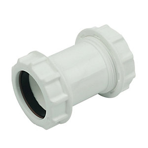 FloPlast WC07 Unicom Compression Waste Straight Coupler - 32mm