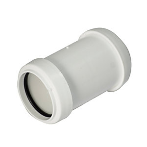 FloPlast WP07W Push-Fit Waste Straight Coupler - White 32mm