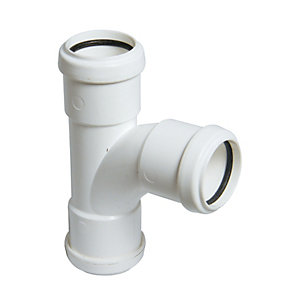 FloPlast WP23W Push-Fit Waste 92.5  Deg Equal Tee - White 40mm
