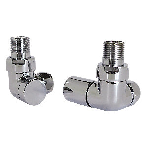 Wickes Contemporary Chrome Round Corner Radiator Valves - 15mm