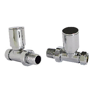 Wickes Contemporary Chrome Round Straight Radiator Valves - 15mm