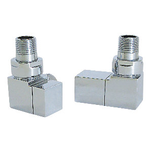 Wickes Contemporary Chrome Square Corner Radiator Valves - 15mm