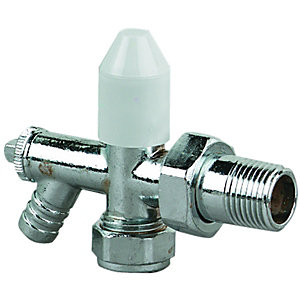 Wickes Radiator Valve with Intergrated Drain Off Valve - 15mm