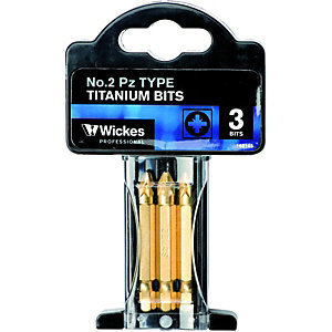 Wickes Titanium Pozi Screwdriver Bit No2 - 50mm Pack of 3