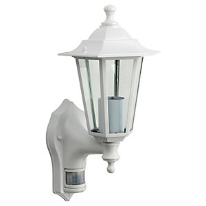 Wickes White PIR Wall Lantern - 60W