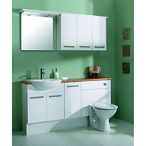 Wickes Seville White Gloss Fitted Base Unit - 300mm