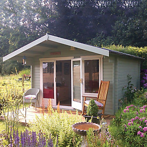 Shire 10 x 10 ft Gisburn Double Door Log Cabin with Overhang