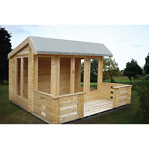 Shire 12 x 10 ft Wykenham Double Door Log Cabin with Veranda