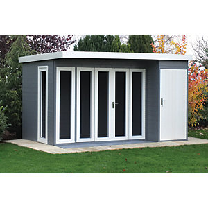Shire 12 x 8 ft Aster Curved Roof Modern Bi-Fold Door Summerhouse