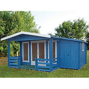 Shire 19 x 14 ft Hollington Double Door Log Cabin with Veranda & Side Storage