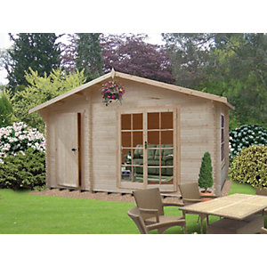 Shire Bourne Double Door Log Cabin with Storage Room - 14 x 12 ft