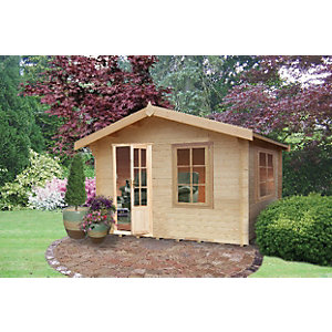 Shire Bucknells Log Cabin with Overhang - 12 x 10 ft