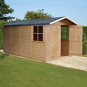 Shire Double Door Timber Shiplap Apex Shed - 7 x 13 ft