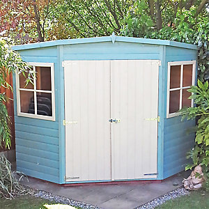Shire Double Door Timber Shiplap Pent Corner Shed - 10 x 10 ft