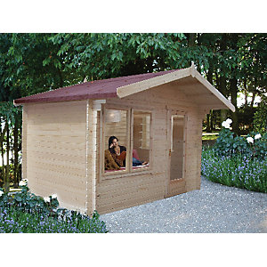 Shire Large Challock Log Cabin with Overhang - 12 x 10 ft
