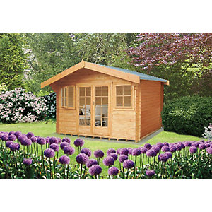 Shire Large Clipstone Double Door Log Cabin with Overhang - 16 x 16 ft