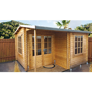 Shire Ringwood Double Door Log Cabin with Covered Porch - 12 x 13 ft