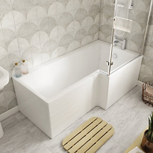 Veroli L Shaped Shower Bath - 1700mm Right Hand