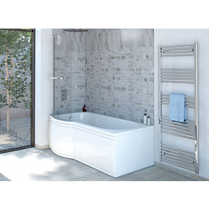 Wickes Valsina Left Hand P Shaped Standard Shower Bath - 1500 x 800mm