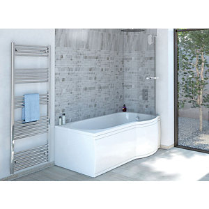 Wickes Valsina Right Hand P Shaped Standard Shower Bath - 1500 x 800mm