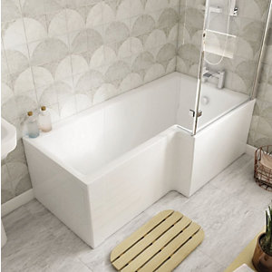 Wickes Veroli L Shaped Right Hand Shower Bath - 1500 x 850mm