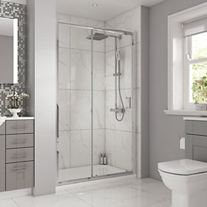 Wickes 1200 x 800mm - Rectangular Slider Semi Frameless Shower Enclosure - Chrome