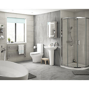 Wickes 800 x 800mm - Quadrant Semi Frameless Sliding Shower Enclosure - Chrome