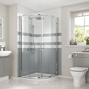 Wickes Quadrant Semi Frameless Sliding Shower Enclosure - Chrome 900 x 900mm