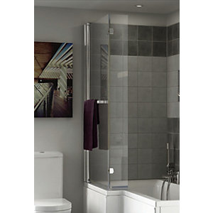 Wickes Asuni L Shaped Bath Screen Chrome