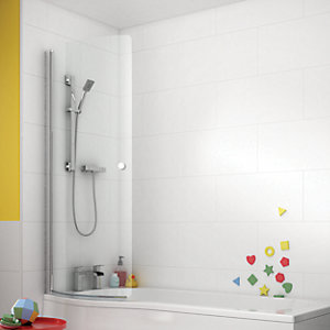 Wickes Curved Front Shower Bath Screen For P Shaped Baths - 1500 x 752mm