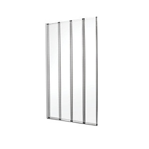 Wickes Four Fold Bath/Shower Screen - Silver Effect Frame