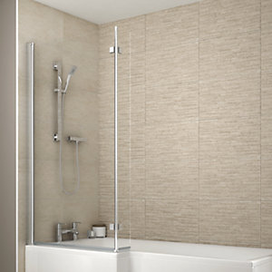 Wickes L Shaped Shower Bath Screen For L Shaped Baths - 1500 x 150 x 810mm